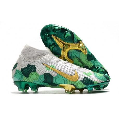 Mbappe Nike Mercurial Superfly 7 Elite SE FG Gris Or Vert