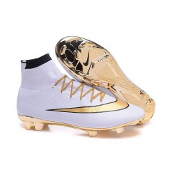 Nouveaux 2016 Crampon Nike Mercurial Superfly FG Blanc Or