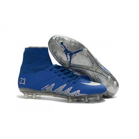 Crampons Football Nike Hypervenom Neymar X Jordan FG Bleu Argent