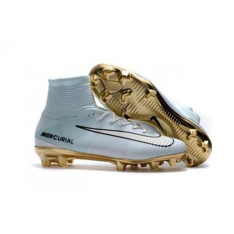 Nike Mercurial Superfly V CR7 Vitórias FG Nouveaux Chaussure de Foot Blanc Or