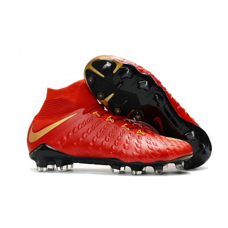 Nike Chaussure Football 2017 Hypervenom Phantom III DF FG Rouge Or