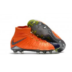 Nike Chaussure Football 2017 Hypervenom Phantom III DF FG Orange Bleu