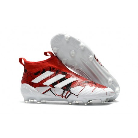 adidas Crampons Football Homme Ace17+ PureControl FG - Rouge Blanc