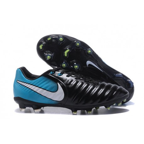 Nike Kangourou Tiempo Legend VII FG Crampon Football - Bleu Noir