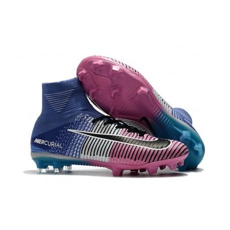 Nike Hommes Chaussure Nouveaux Mercurial Superfly 5 FG - Bleu Rose Noir