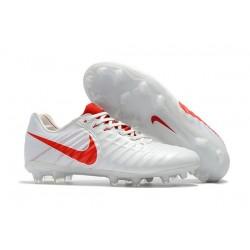 Nike Kangourou Tiempo Legend VII FG Crampon Football - Blanc Rouge
