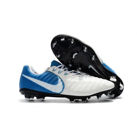 Chaussures de Foot Nouvelles Nike Tiempo Legend 7 FG - Blanc Bleu