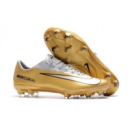 Nike Mercurial Vapor XI FG ACC Crampon de Foot - Or Blanc