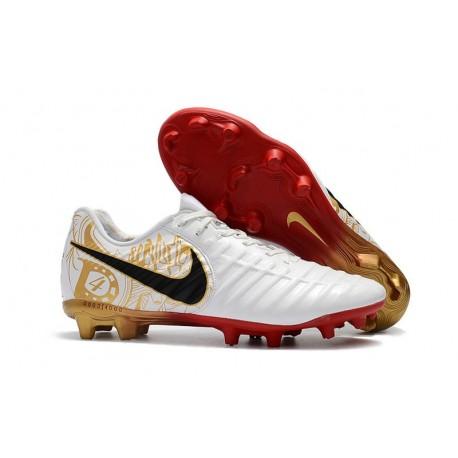 Chaussures de Foot Nouvelles Nike Tiempo Legend 7 FG - Blanc Or Rouge