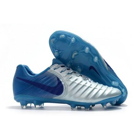 Nike Crampons de Football Tiempo Legend VII FG - Argente Bleu