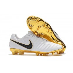 Chaussure Football Nike Tiempo Legend VII FG - Blanc Noir Or