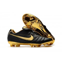 Chaussure Football Nike Tiempo Legend R10 FG - Noir Or