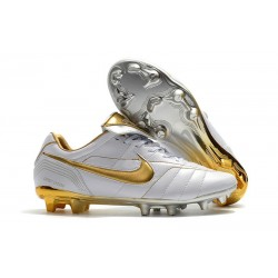 Chaussure Football Nike Tiempo Legend R10 FG - Blanc Or
