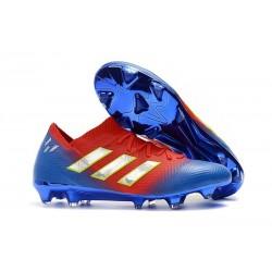 adidas Nemeziz Messi 18.1 FG Chaussures - Rouge Bleu Argent