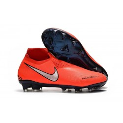 Chaussures de Football Nike Phantom Vision Elite DF FG Rouge Argent