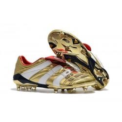 Chaussures de Football adidas Predator Accelerator FG - Or Blanc Rouge