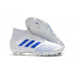 adidas Crampons de Foot Predator 19+ FG Blanc Bleu