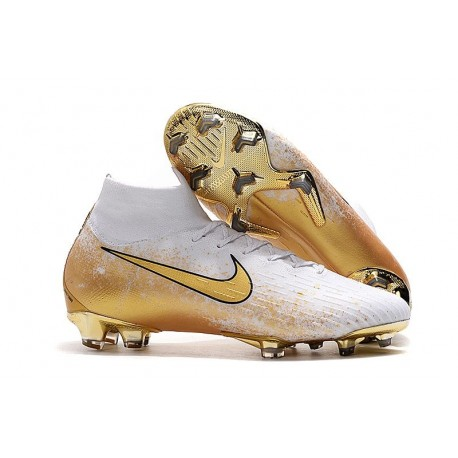 Nike Mercurial Superfly VI 360 Elite FG Crampon de Foot Or Blanc
