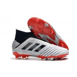 adidas Crampons de Foot Predator 19+ FG Argent Noir Rouge