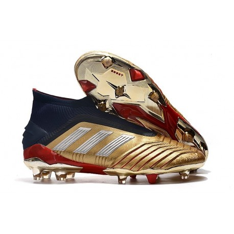 adidas Crampons de Foot Predator 19+ FG Or Argent Rouge