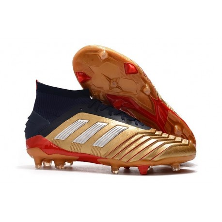 Chaussure adidas Predator 19.1 FG Homme - Or Rouge Argent