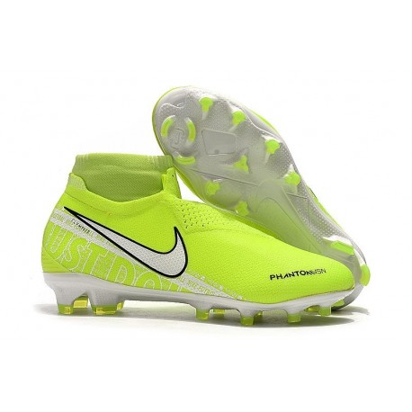 Nike Phantom Vsn Elite DF FG Crampons de Foot - Volt Blanc