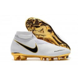 Chaussures de Football Nike Phantom Vision Elite DF FG Blanc Or Noir