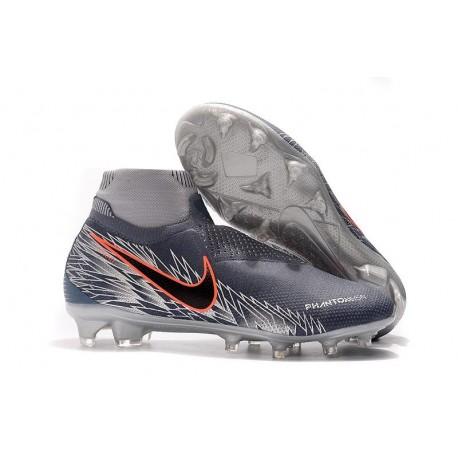 Nike Phantom Vsn Elite DF FG Crampons de Foot - Gris Noir Rouge