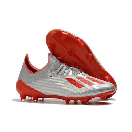 Chaussures adidas X 19.1 FG Silver Metallic Hi-Res-Red White